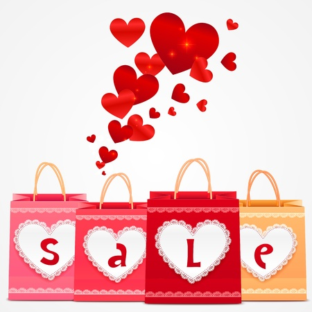 Valentines day vector shopping bags bright greeting card Illustration
