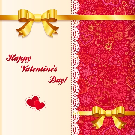 flower border pink: Valentine s day lacy card with golden bows and ribbons Illustration