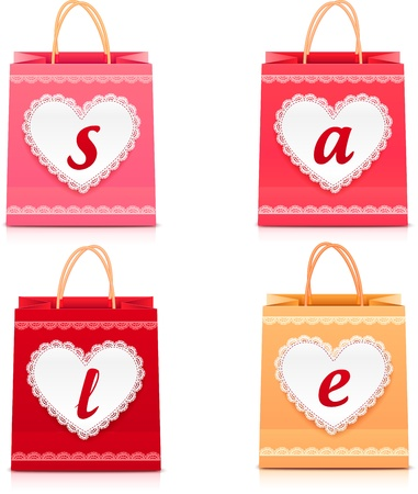 Valentines day lacy shopping bag set with sign sale Stock Vector - 17188504