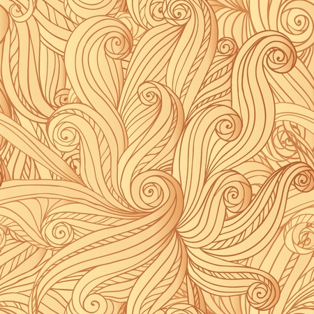 Abstract seamless hand-drawn hair or waves pattern