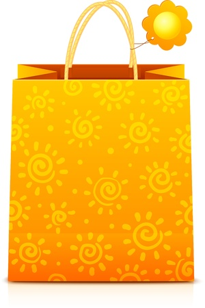 Orange paper shopping bag with sunny pattern and sun label Vector