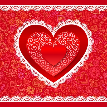 Valentines day hearts greeting card on ornate background Vector