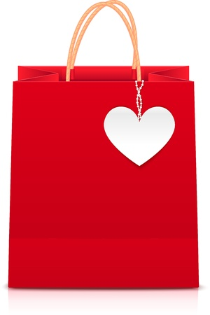 Red paper shopping bag with white paper heart label Vector