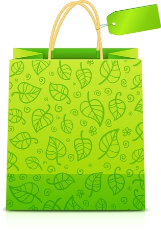 Green paper shopping bag with floral ornament and green label Vector
