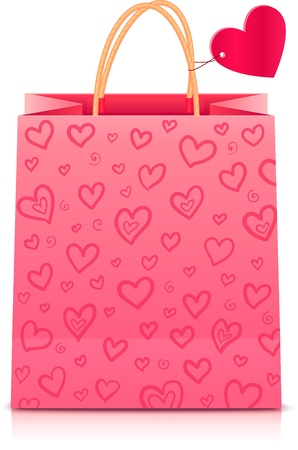 boutique shop: Valentines day rose paper shopping bag with heart pattern