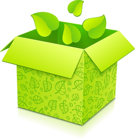 Green gift box with flying foliage inside Stock Vector - 17231698