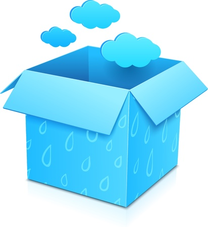 Blue gift box with flying clouds and rainy pattern Vector