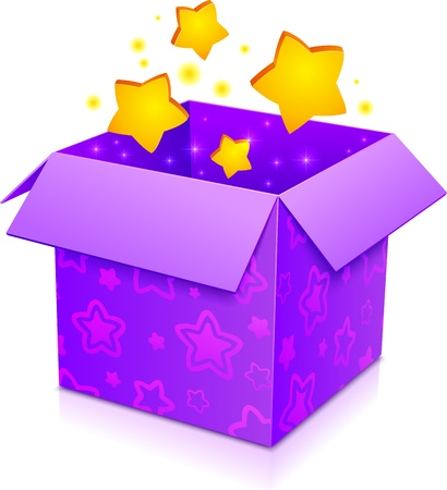 illusionist: Violet magic box with yellow stars and magenta pattern Illustration