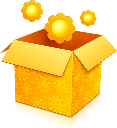 Orange gift box with yellow flowers and sunny pattern Stock Vector - 17231672