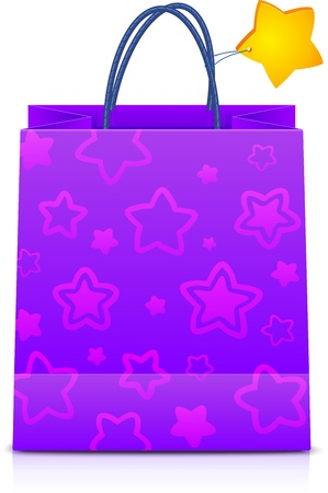 Gift paper bag with stars pattern and yellow star on handle Stock Vector - 17231624