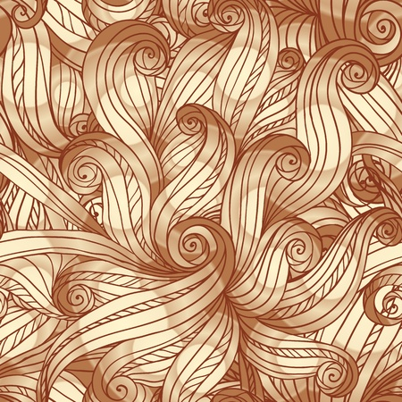 Abstract vintage seamless hand-drawn doodle hair pattern Vector
