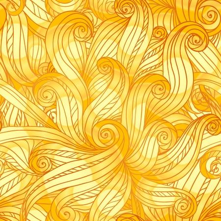 golden hair: Golden doodle hair abstract seamless pattern Illustration