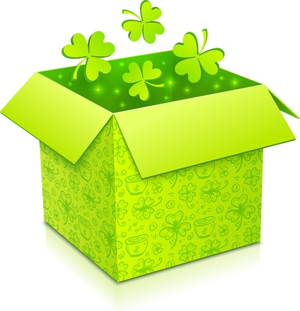 Green Patrics day gift box with green clovers inside Stock Vector - 17231676