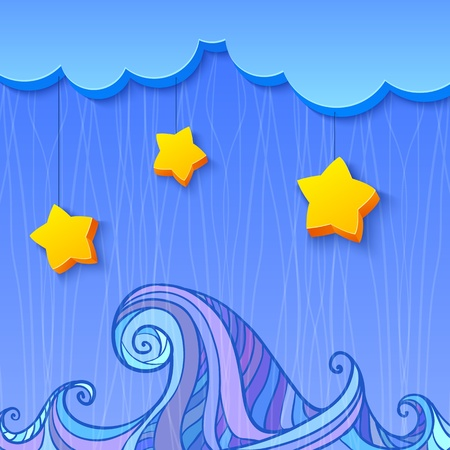 3d shaded decoration with cloud and stars over the sea Stock Vector - 17239566