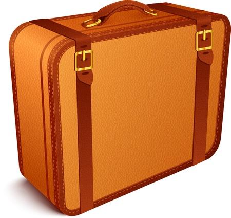maleta: Marr�n Vector viajero s maleta de cuero de �poca