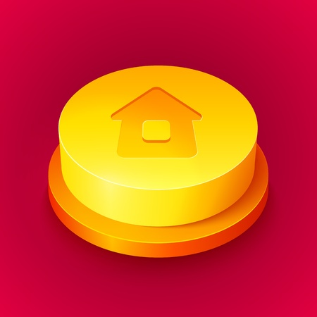 Big realistic vector yellow home button with shadow Stock Photo - 17274830