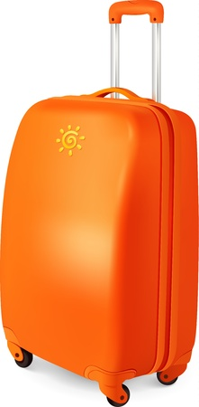 Orange vector travelling baggage suitcase, vector illustration Vector