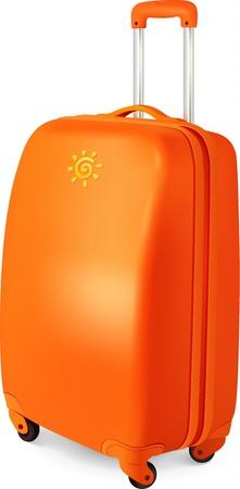 overseas: Vector Orange equipaje maleta de viaje, ilustraci�n vectorial