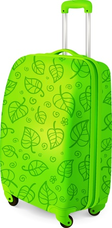 Green vector travelling baggage suitcase, vector illustration
