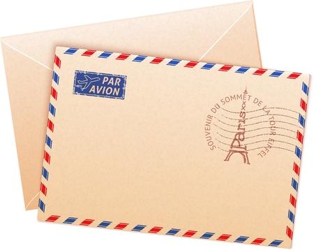 enveloppe ancienne: Vieux enveloppe fran�aises avec tour Eiffel et signe par avion Illustration