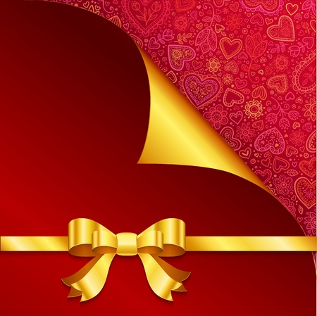 Vector Valentine s day greeting card with hearts and golden bow Stock Vector - 17274842