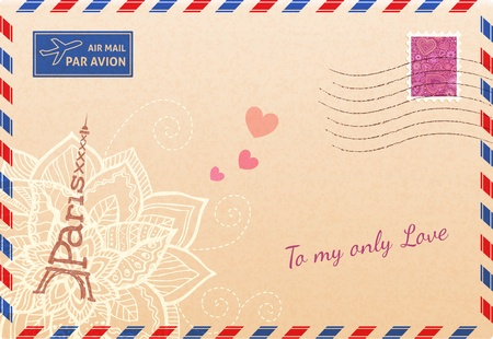 Vintage french envelope with Eiffel tour, flowers and hearts Vector