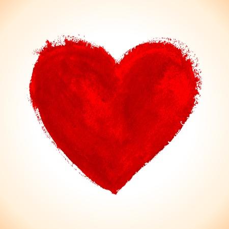 Hand-drawn geschilderd rood hart, vector element voor uw ontwerp