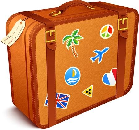 voyage: los viajeros marr�n maleta de cuero vintage con pegatinas