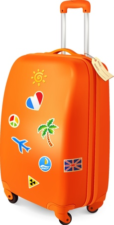 abroad: Orange traveling baggage  suitcase with stickers Illustration