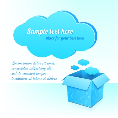 Big blue plastic cloud and box of clouds with rainy pattern Stock Vector - 17335355