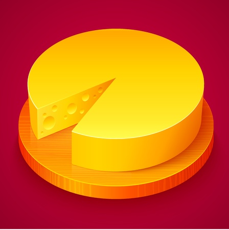 Round yellow cheese on wooden plate Vector