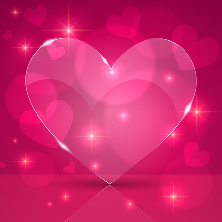 Pink thin shining glass heart on lights background Stock Vector - 17335354