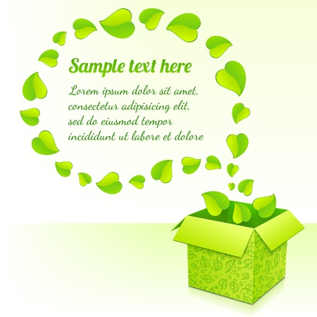 Text bubble made from foliage with green box of leaves Stock Photo - 17335343