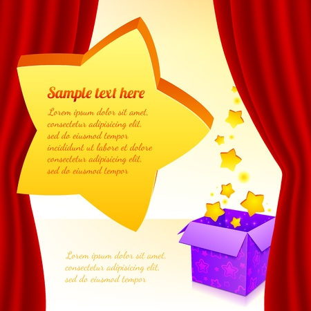 Magic box with stars behind red curtain and big star for text Vector