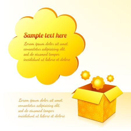 Yellow sunflowers box with text bubble card template Stock Vector - 17350365