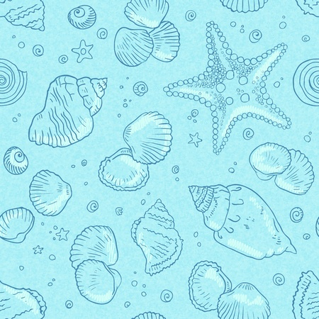 starfish on beach: Light blue seamless seashells pattern