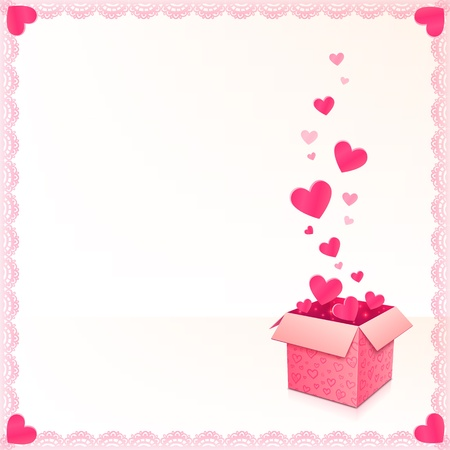 Greeting card with ornate box of hearts and lacy frame Stock Vector - 17350367