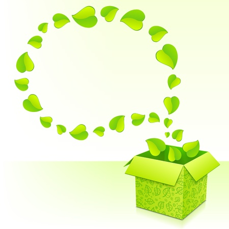 Text bubble made from foliage with green box of leaves Stock Photo - 17350361