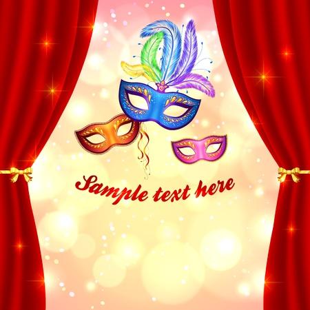 carnaval: Venetiaanse carnaval poster sjabloon met maskers en gordijn