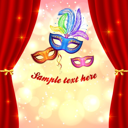 Venetian carnival poster template with masks and curtain Illustration