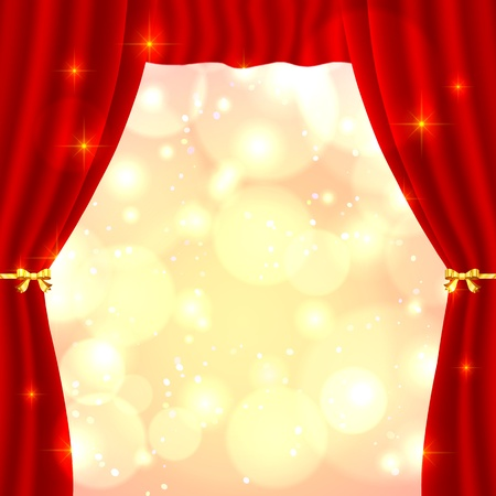 velvet rope: Red opened vector theatrical curtain with bright lights inside