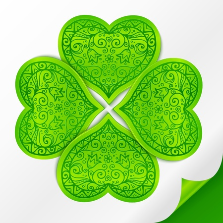 Green plastic ornate lucky clover on paper with curved corner Stock Vector - 17381348