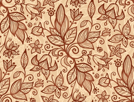 Beige vector flowers and leaves seamless pattern Stock Vector - 17390762