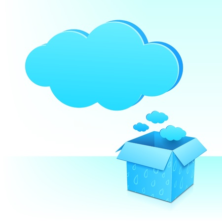 Big blue plastic cloud from box of clouds with rainy pattern Stock Vector - 17390764