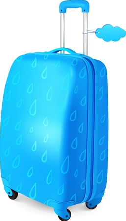 Blue travelers suitcase with rainy pattern and cloud label Illustration