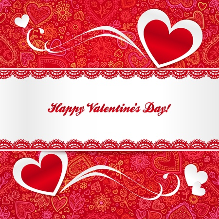Valentines day greeting card with hearts and lacy ribbon Stock Vector - 17390766