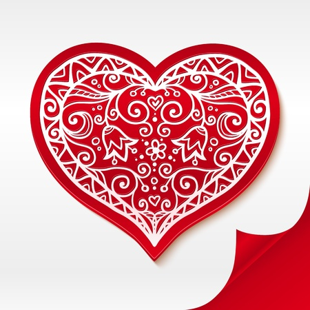Red lacy plastic heart on curved white paper Vector
