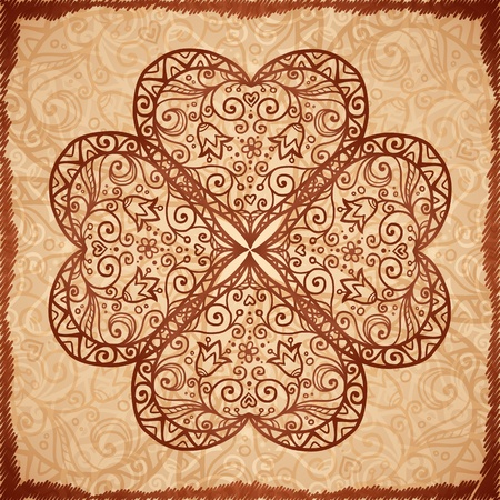 Vintage beige vector ornate background in Indian style Vector