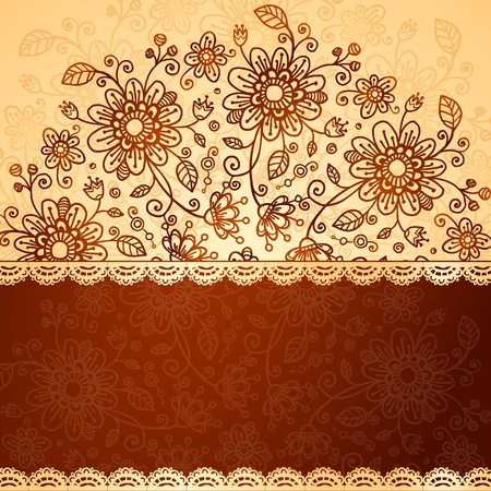Ornate  doodle flowers two colors background