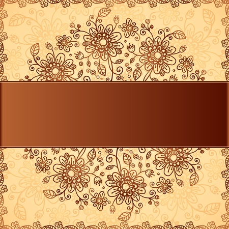 hand drawn frame: Ornate  doodle flowers background with brown text field